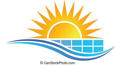 Sun with Solar Panel Logo Vector