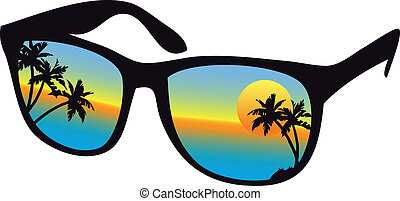 sunglasses with sea sunset and palm trees, vector