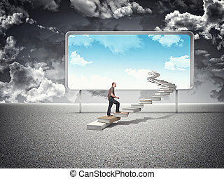 man on books steps and blue sky