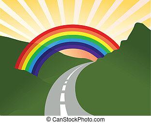 sunny landscape with rainbow