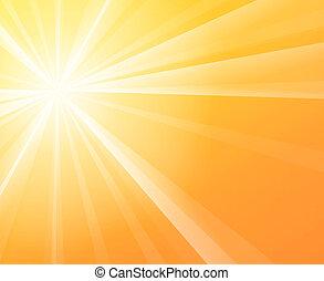 Yellow solar Sun light on a bright and warm orange sky