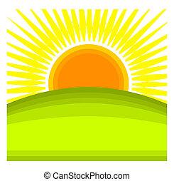 Sun rising behind green hill horizon. Vector illustration