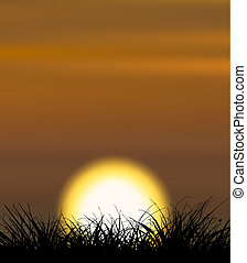 Background illustrating sunset with the grass shape in the front