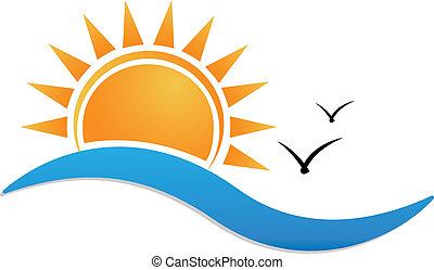 Sunset beach vector icon background