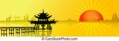 Asian landscape with a big red sun