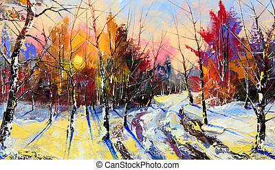 Sunset in winter wood