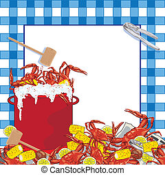 Super fun Crab Boil party invitation. Hot bubbling red pot of crab with corn on the cob, potatoes and lemons, mallet and crab utensil sit on a newspaper with a blue checkered tablecloth patterned background.