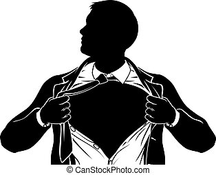 A superhero business man tearing his shirt showing the chest of his costume underneath with copyspace