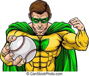 Superhero Holding Baseball Ball Sports Mascot