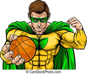 Superhero Holding Basketball Ball Sports Mascot