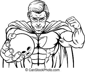 Superhero Holding Bowling Ball Sports Mascot