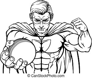 Superhero Holding Cricket Ball Sports Mascot