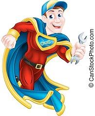 Illustration of a cartoon mechanic or plumber superhero mascot holding a spanner