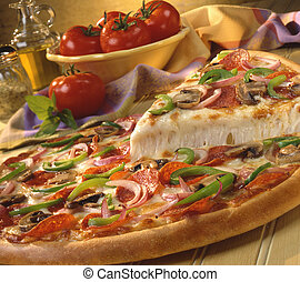 Pizza with pepperoni, peppers, onions and mushrooms
