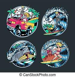 Surfing T-shirt Vector Designs. Surfing Logo Set. Vector Illustration.