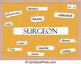 Surgeon Corkboard Word Concept