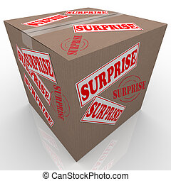 A cardboard box with stickers and stamps reading Surprise, representing a gift, present or other mystery item sent to you through the mail
