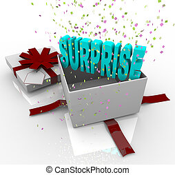 A white gift box springs open to reveal the word Surprise