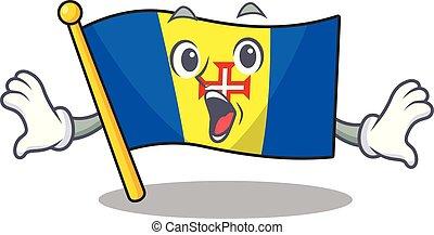 Surprised flag madeira face gesture on cartoon style