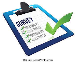 Survey and a list of questions illustration design over white