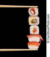 Maxi sushi on black background