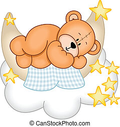 Image representing a sweet dreams teddy bear, sleeping on the moon, isolated on white, vector design.