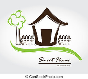 sweet home over gray background vector illustration