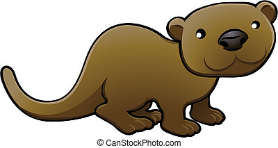 A vector illustration of a sweet friendly otter