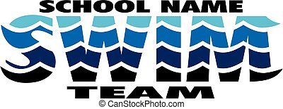 swim team logo design with waves for school, college or league