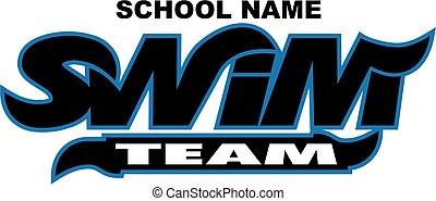swim team logo design with wavy font for school, college or league