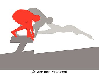 Swimmer position for jump on starting block vector background concept made of stripes