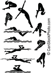 Female Swimming and Diving Silhouettes Vector Images