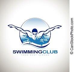 Swimming Design Swimmer design. Creative swim icon.
