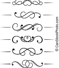 Swirl elements set and monograms for design and decorate