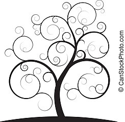 illustration of black spiral tree
