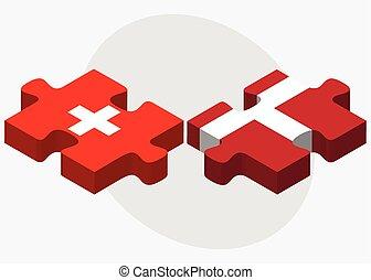 Switzerland and Kingdom of Denmark Flags