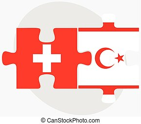 Switzerland and Turkish Republic of North Cyprus Flags