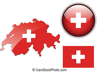 Switzerland, Swiss flag, map and glossy button, vector illustration set.