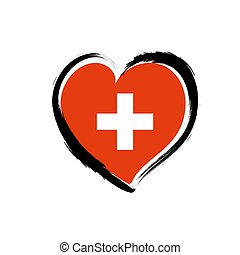 Switzerland heart logo flag. Swiss vector country icon love emblem