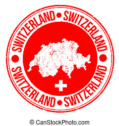 Grunge rubber stamp with map and the word Switzerland written inside, vector illustration