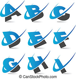 Set of swoosh alphabet icons.