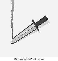 Sword tearing through sheet of paper background