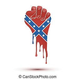Symbol blood flow of clenched fist held in protest with Confederate flag.
