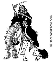 grim reaper symbol of death and time sitting on a horse and holding scythe . Black and white image