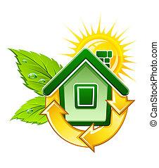 symbol of ecological house with solar energy illustration, isolated on white background