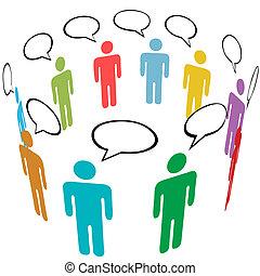 A group of stick figure Symbol People talk in Social Media speech bubbles.