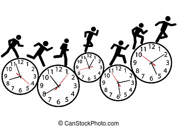 A person or people in a hurry run a day long race against time on clocks.