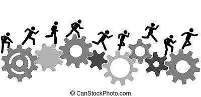 Symbol people run a race on industry gears