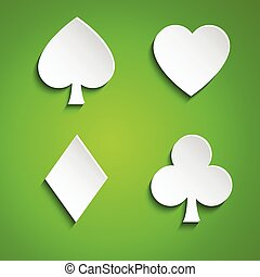 Symbol set of playing cards on green background, simple vector illustration