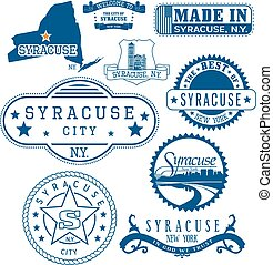 Syracuse, New York. Set of stamps and signs